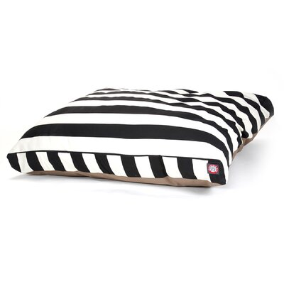 "Vertical Strip Rectangle Dog Pillow Size: Large (50"" L x 42"" W), Color: Black"