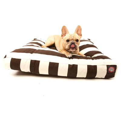 "Vertical Strip Rectangle Dog Pillow Color: Navy Blue, Size: Large (50"" L x 42"" W)"