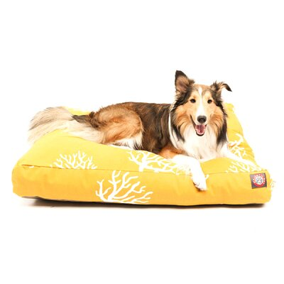 "Coral Rectangle Dog Pillow Size: Small (36"" L x 29"" W), Color: Black"