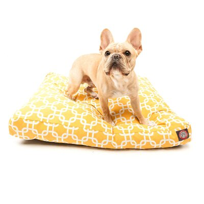 "Links Rectangle Dog Pillow Size: Small (36"" L x 29"" W), Color: Yellow"