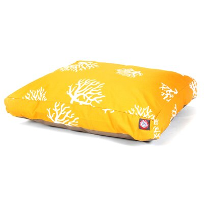 Coral Rectangular Pillow Pet Bed Size: Extra Small (20 W x 27 D), Color: Yellow