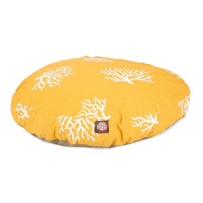 Coral Round Pet Bed Pillow Color: Yellow, Size: Medium (36 L x 36 W)