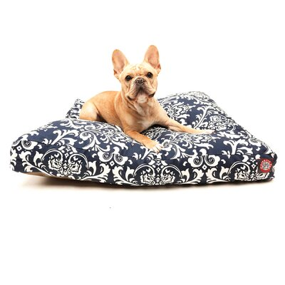 """French Quarter Rectangle Dog Pillow Size: Small (36"""" L x 29"""" W), Color: Navy Blue"""