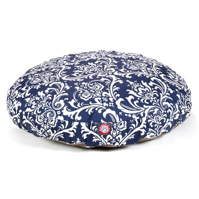 French Quarter Round Dog Pillow Size: Medium (36 L x 36 W), Color: Navy Blue