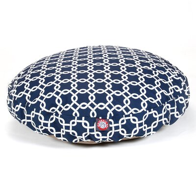 "Links Round Dog Pillow Size: Medium (36"" L x 36"" W), Color: Navy Blue"