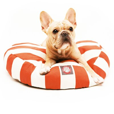 Vertical Stripe Round Pet Bed Size: Small (30 W x 30 D), Color: Burnt Orange