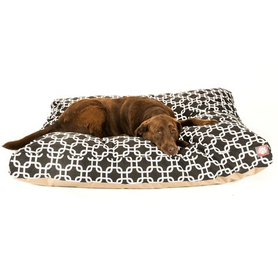 "Links Rectangle Dog Pillow Size: Small (36"" L x 29"" W), Color: Black"
