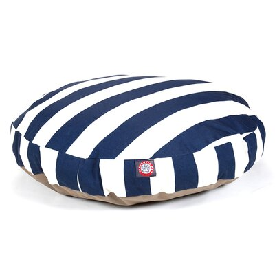 Vertical Stripe Round Pet Bed Color: Navy Blue, Size: Medium (36 W x 36 D)