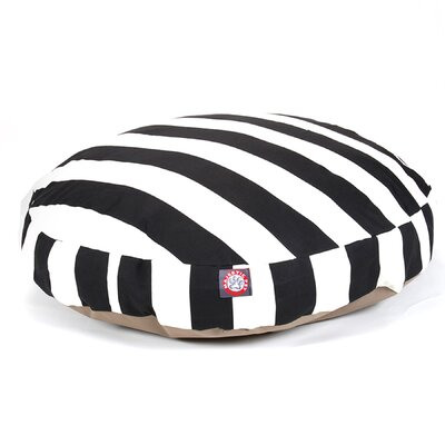 Vertical Stripe Round Pet Bed Size: Medium (36 W x 36 D), Color: Black