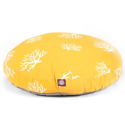 Coral Round Pet Bed Pillow Color: Yellow, Size: Large (42 L x 42 W)