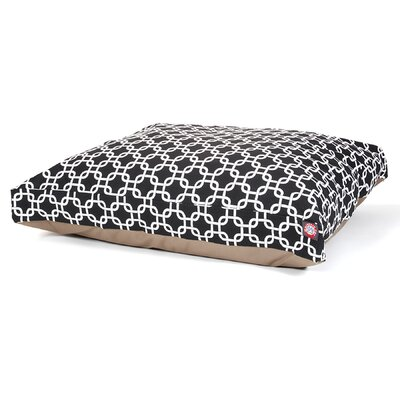 "Links Rectangle Dog Pillow Size: Medium (44"" L x 36"" W), Color: Black"