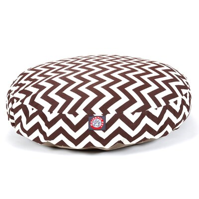 "Zig Zag Round Dog Pillow Size: Small (30"" L x 30"" W), Color: Black"
