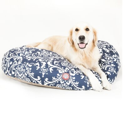 French Quarter Round Dog Pillow Size: Large (42 L x 42 W), Color: Navy Blue