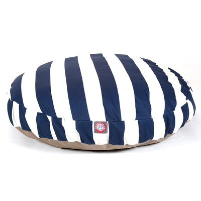 Vertical Stripe Round Pet Bed Size: Large (42 W x 42 D), Color: Navy Blue