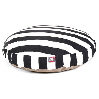 Vertical Stripe Round Pet Bed Size: Large (42 W x 42 D), Color: Black