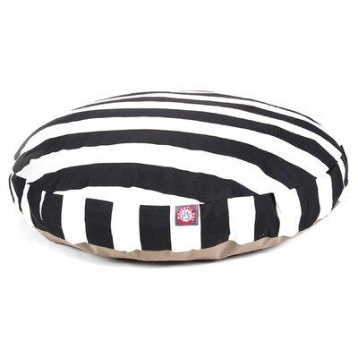 Vertical Stripe Round Pet Bed Size: Large (42 W x 42 D), Color: Black