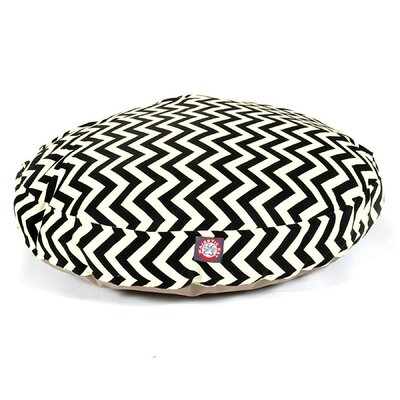 "Zig Zag Round Dog Pillow Size: Medium (36"" L x 36"" W), Color: Black"