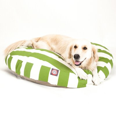 Vertical Stripe Round Pet Bed Size: Large (42 W x 42 D), Color: Sage