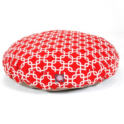 Links Round Pet Bed Size: Medium (36 W x 36 W), Color: Red