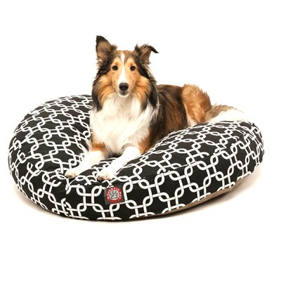 "Links Round Dog Pillow Size: Medium (36"" L x 36"" W), Color: Black"
