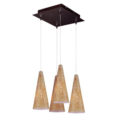 Lava 4-Light RapidJack Pendant and Canopy Glass Color: Gold Lava, Finish: Bronze