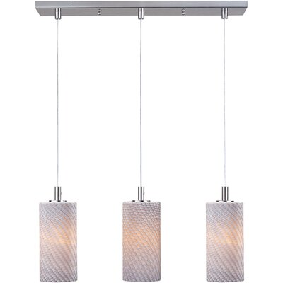 Carte 3-Light Pendant Finish / Height / Glass / Bulb Type: Satin Nickel / 11 / Grey Ripple / Fluorescent