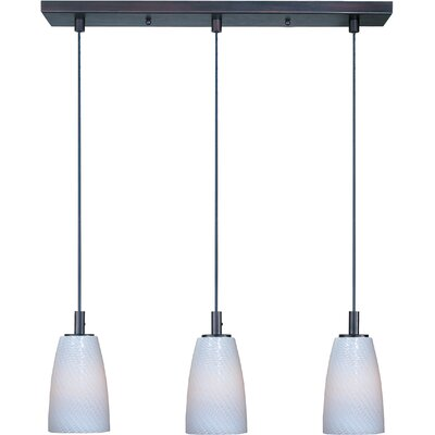 Carte 3-Light Pendant Finish: Bronze, Shade Color: White Ripple, Bulb Type: Halogen
