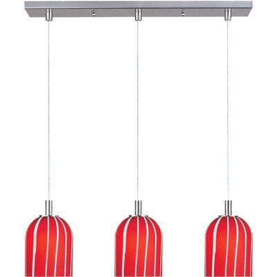 Carte  Pendant Finish / Glass: Satin Nickel / Red