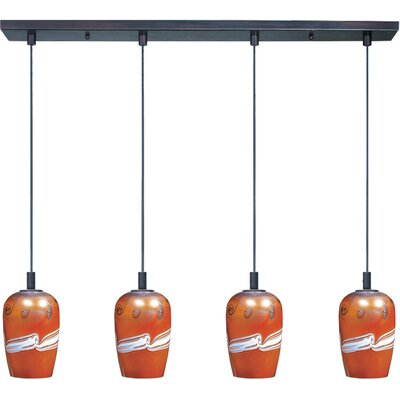 Carte 4 Light Pendant Finish / Size / Bulb Type: Bronze / 11 H x 33 W x 6 D / Fluorescent