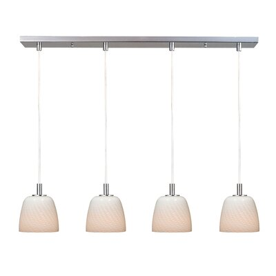 Carte 4 Light Kitchen Island Pendant Finish / Glass: Satin Nickel / Grey Ripple