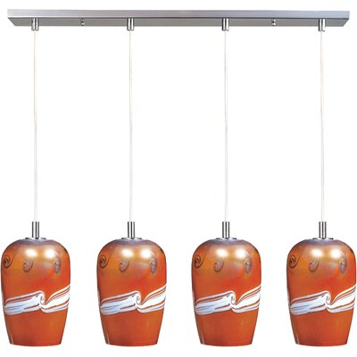 Carte 4 Light Pendant Finish / Size / Bulb Type: Satin Nickel / 11 H x 33 W x 6 D / Incandescent
