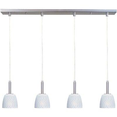 Carte 4 LED Integrated Bulb Kitchen Island Pendant Finish / Glass: Satin Nickel / White Zebra