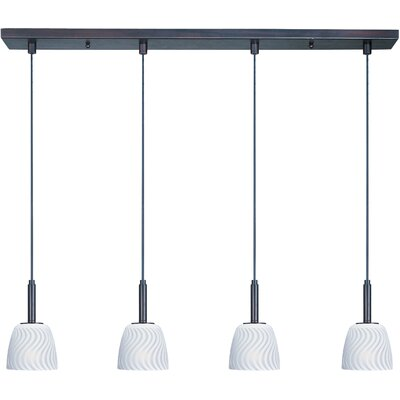 Carte 4 LED Integrated Bulb Kitchen Island Pendant Finish / Glass: Bronze / White Zebra