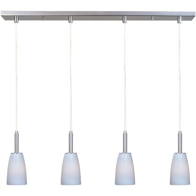 Carte 4-Light Pendant Finish: Satin Nickel, Shade Color: White Ripple, Bulb Type: Incandescent