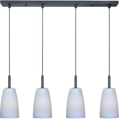 Carte 4-Light Pendant Finish: Bronze, Bulb Type: Halogen, Shade Color: White Ripple
