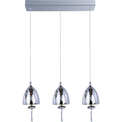 Chute 3-Light Pendant Glass Color: Mirror Chrome