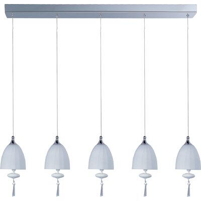 Chute 5-Light Pendant Glass Color: Matte White