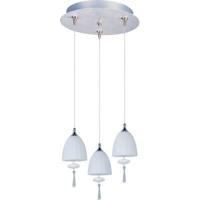 Minx 3 Light Pendant Glass Color: Matte White