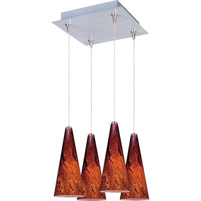 Lava RapidJack 4-Light Cluster Pendant Shade Color: Amber Lava, Finish: Satin Nickel