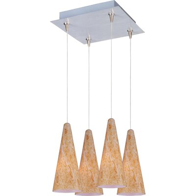 Lava RapidJack 4-Light Cluster Pendant Shade Color: Gold Lava, Finish: Satin Nickel