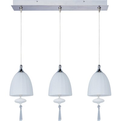 Chute 3-Light RapidJack Pendant and Canopy Glass Color: Matte White