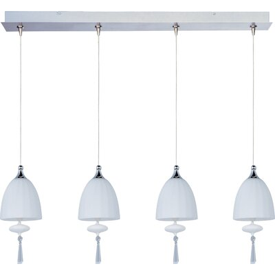 Chute 4-Light RapidJack Pendant and Canopy Glass Color: Matte White