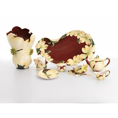 Kathy Ireland Home By Franz Collection-autumn Memories Floral Porcelain Pillar Candle Holder