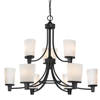 Ellipse II 9-Light Shaded Chandelier Finish: Bolivian