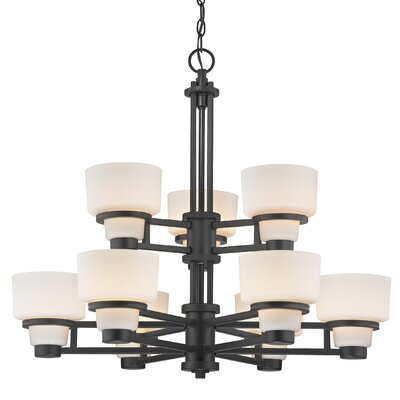 Saxon 9-Light Shaded Chandelier
