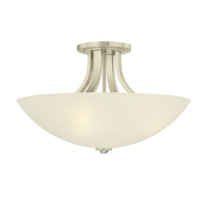 Fireside 3-Light Semi Flush Mount Finish: Satin Nickel