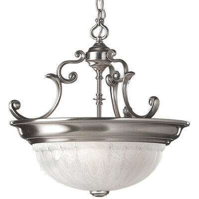 Bainsbury Traditional 3-Light Inverted Pendant Finish: Satin Nickel