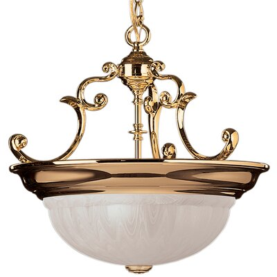 Bainsbury Traditional 3-Light Inverted Pendant Finish: Polished Brass