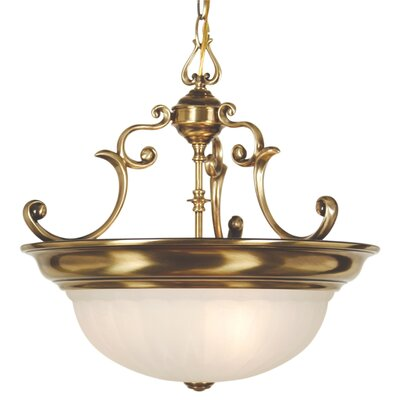 Bainsbury Traditional 3-Light Inverted Pendant Finish: Old Brass