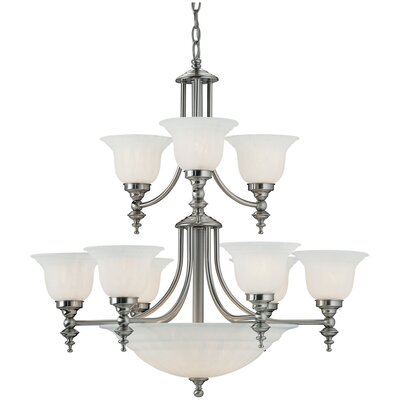 Richland 14-Light Shaded Chandelier Finish: Satin Nickel